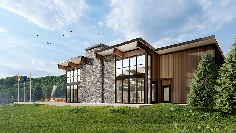 Camp Michaels Eagle Lodge rendering outside